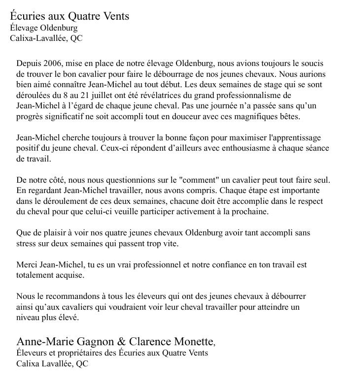 Débourrage Cheval Québec